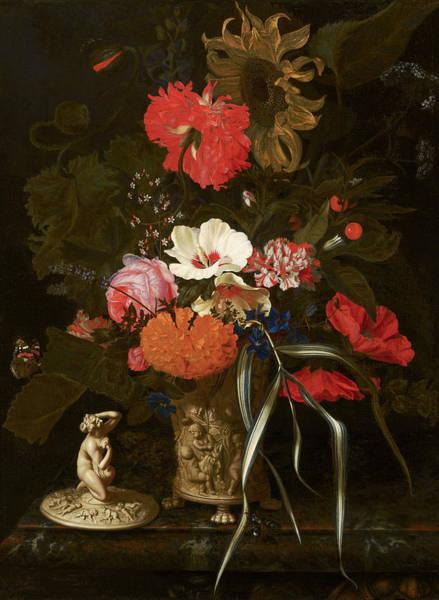 Tulip Bloom Painting - Flowers In An Ornamental Vase by Maria van Oosterwyck