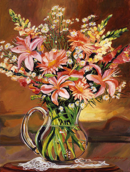 Pitcher Painting - Flowers In Glass by David Lloyd Glover