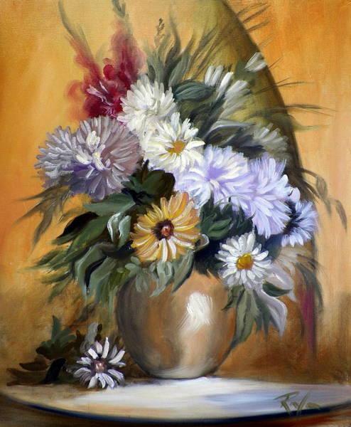 Flowers In Gold Vase Art Print