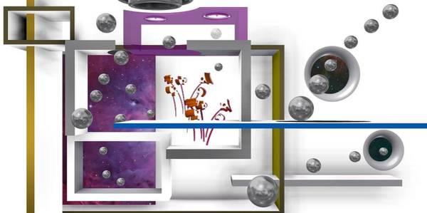 Digital Art - Flowers In Space With Silver Balls 1 by Alberto  RuiZ