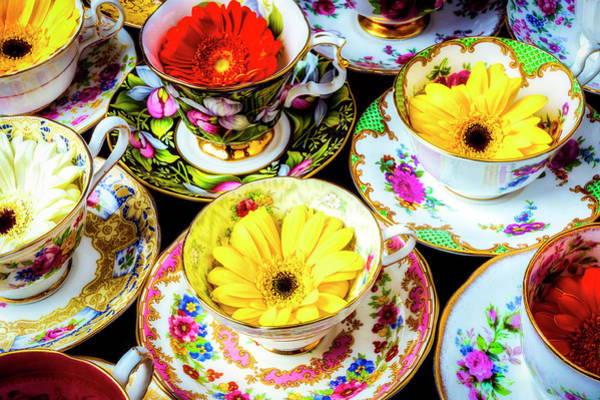 Saucer Photograph - Flowers In Tea Cups by Garry Gay