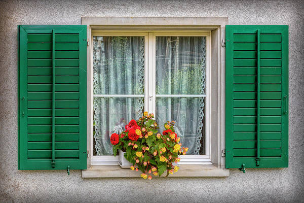 Photograph - Flowers In The Window With The Green Shutters by Debra and Dave Vanderlaan