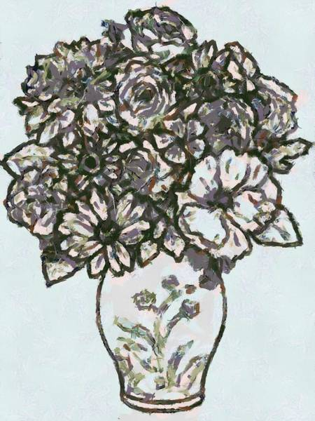 Digital Art - Flowers In Vase by Catherine Lott