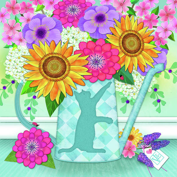 Digital Art - Flowers In Watering Can by Valerie Drake Lesiak