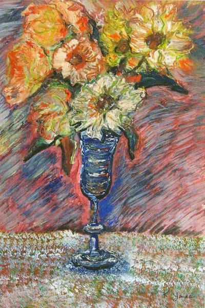 Flowers In Wine Glass Art Print