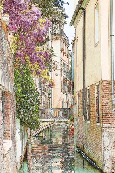 Wall Art - Photograph - Flowers On Canal In Venice Colored Pencil by Michael Henderson