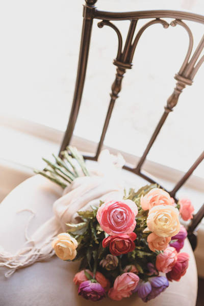 Wedding Bouquet Photograph - Flowers On Chair by Rebecca Cozart