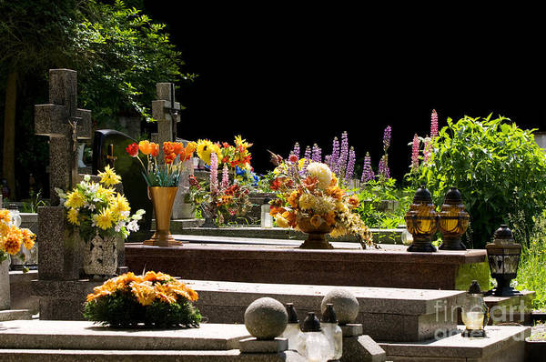 Wall Art - Photograph - Flowers On Graves At Old Catholic Cemetery  by Arletta Cwalina