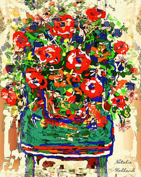 New Leaf Mixed Media - Flowers On Green Chair by Natalie Holland