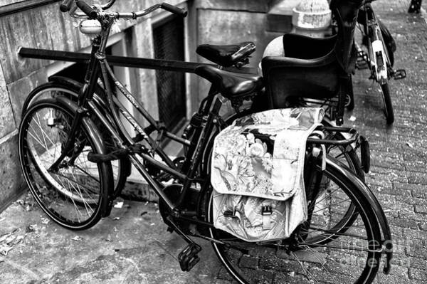 Photograph - Flowers On My Bike Bag Mono by John Rizzuto