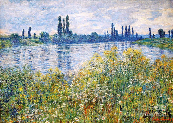 Painting - Flowers On The Banks Of Seine Near Vetheuil by Celestial Images