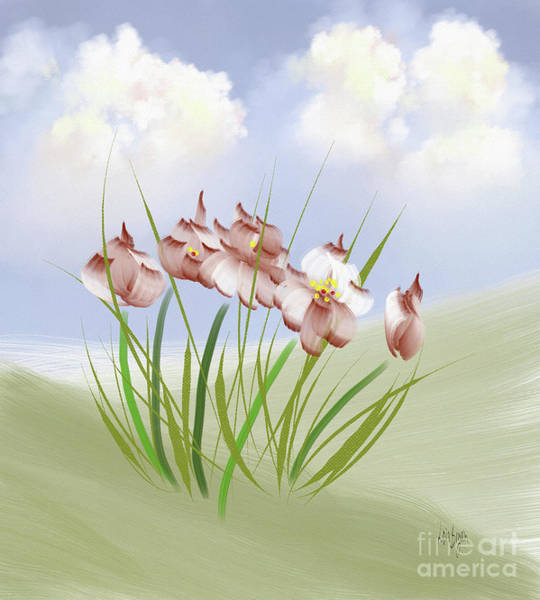 Digital Art - Flowers On The Hillside by Lois Bryan