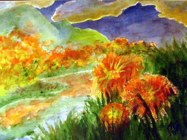 Painting - Flowers On The Mountain by Andrew Gillette