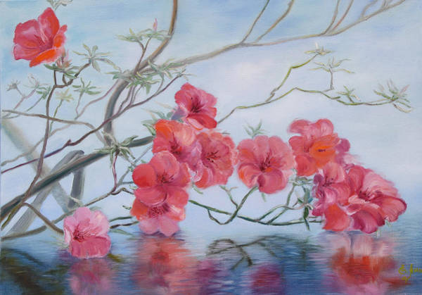 Painting - Flowers Over Water by Elena Antakova