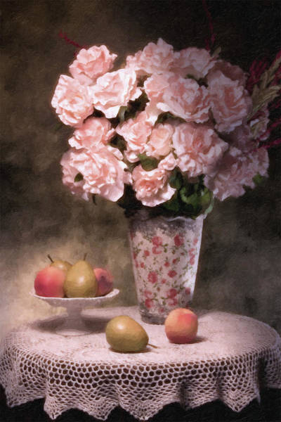 Peach Flower Wall Art - Photograph - Flowers With Fruit Still Life by Tom Mc Nemar