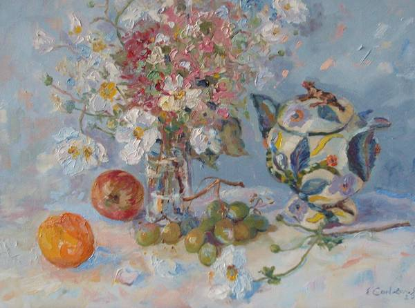 Snapdragons Painting - Flowers With Tangerine And Ardmore Jar by Elinor Fletcher