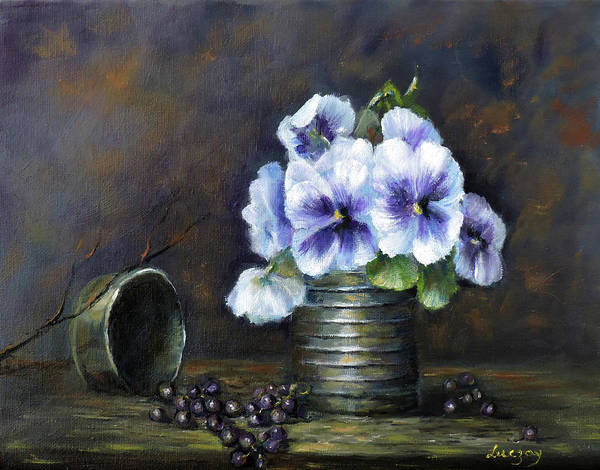 Painting - Flowers,pansies Still Life by Katalin Luczay