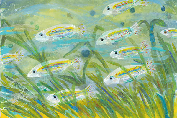 Island Wall Art - Painting - Flowing Seagrass by Bridget Weber