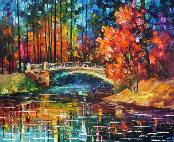 Wall Art - Painting - Flowing Under The Bridge  by Leonid Afremov