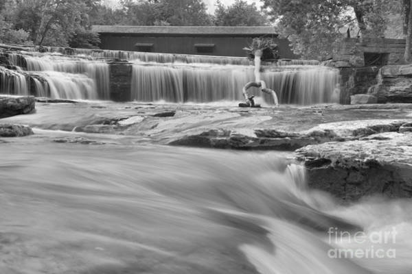 Photograph - Flowing Under The Cataract Covered Bridge Black And White by Adam Jewell