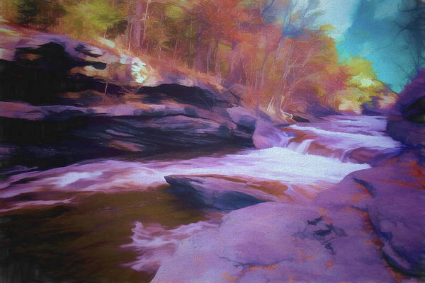 Digital Art - Flowing Water,autumn Colors by Rusty R Smith