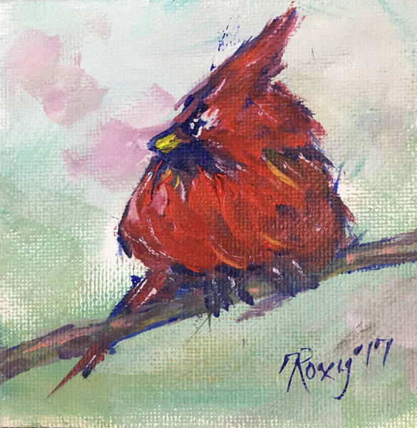 Flower Painting - Fluffy Cardinal Chick by Roxy Rich