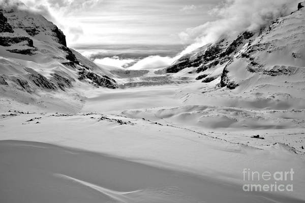 Photograph - Fluffy Clouds Over The Athabasca Glacier Black And White by Adam Jewell