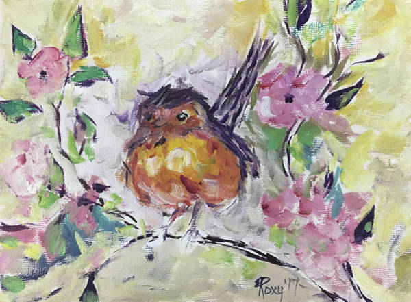 Animal Painting - Fluffy Robin In Pink Cherry Blossoms by Roxy Rich