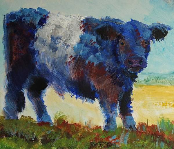 Painting - Fluffy Shaggy Belted Galloway Cow - Cow With A White Stripe by Mike Jory