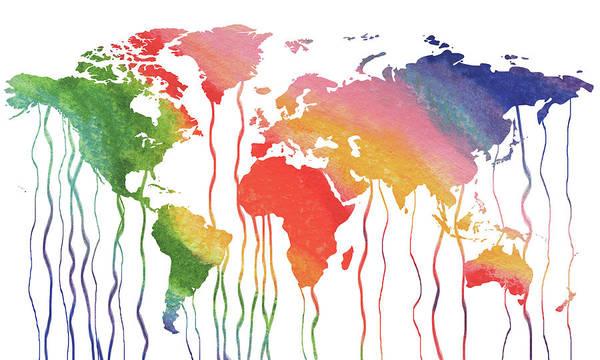 Painting - Fluid Rainbow Watercolor World Map by Irina Sztukowski