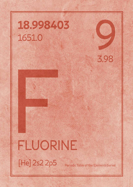 Elements Mixed Media - Fluorine Element Symbol Periodic Table Series 009 by Design Turnpike