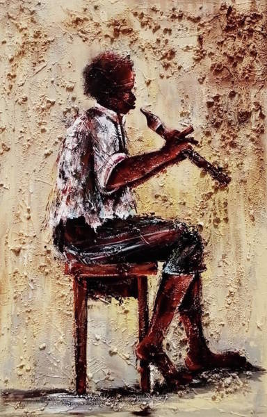 Painting - Flute Master by Daniel Akortia