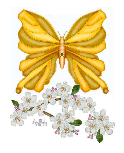 Wall Art - Painting - Flutterby And Blooms by Anne Norskog
