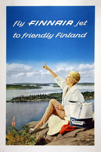Bauhaus Mixed Media - Fly Finnair Jet To Friendly Finland - Finland Airways - Retro Travel Poster - Vintage Poster by Studio Grafiikka
