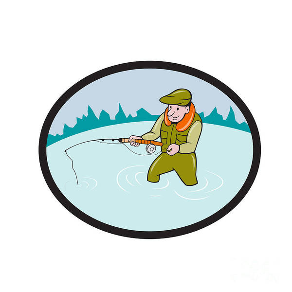 Wall Art - Digital Art - Fly Fisherman Casting Fly Rod Oval Cartoon by Aloysius Patrimonio