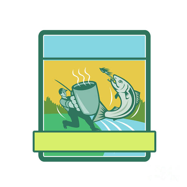 Wall Art - Digital Art - Fly Fisherman Catching Salmon Mug Rectangle Retro by Aloysius Patrimonio
