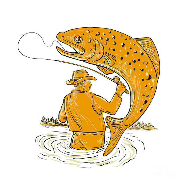 Wall Art - Digital Art - Fly Fisherman Reeling Trout Drawing by Aloysius Patrimonio