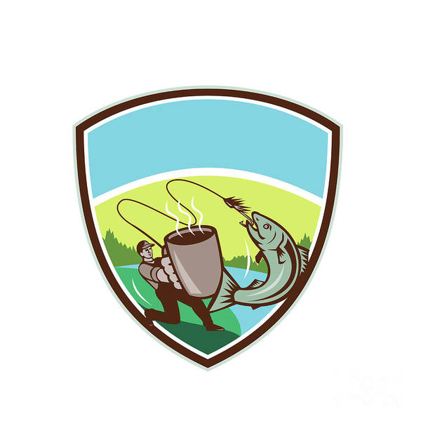 Wall Art - Digital Art - Fly Fisherman Salmon Mug Crest Retro by Aloysius Patrimonio