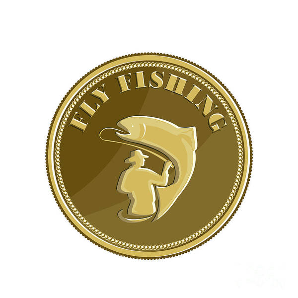 Wall Art - Digital Art - Fly Fishing Gold Coin Retro by Aloysius Patrimonio