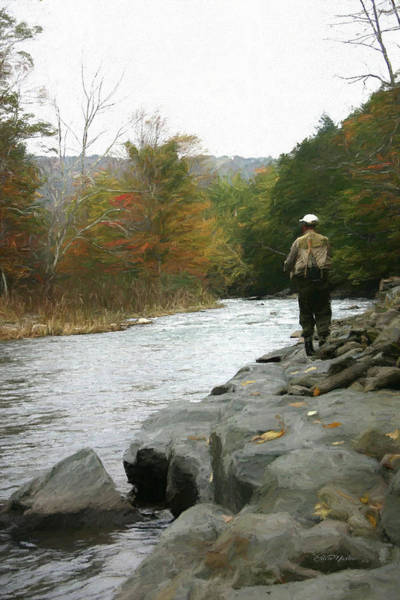 Photograph - Fly Fishing In The Beaverkill-painting 0011 by Ericamaxine Price