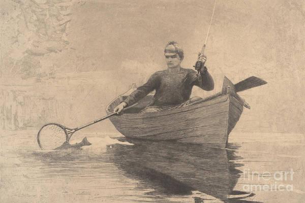 Wall Art - Drawing - Fly Fishing, Saranac Lake, 1889 by Winslow Homer