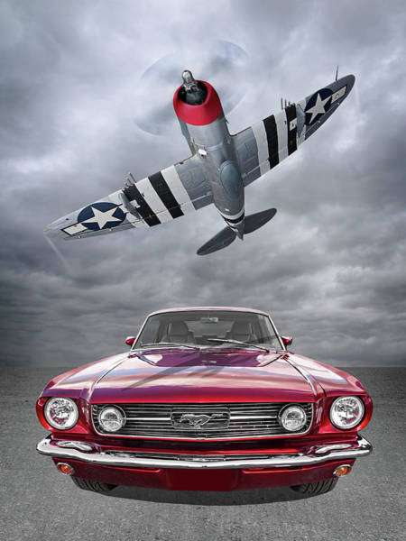 Photograph - Fly Past - 1966 Mustang With P47 Thunderbolt by Gill Billington