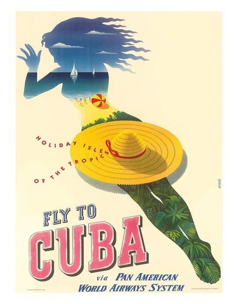 Tropics Digital Art - Fly To Cuba Holiday Isles Of The Tropics Vintage Travel Poster By Julius Seyler by Retro Graphics