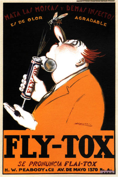 Bald Mixed Media - Fly-tox - Mosquito Repellant - Insecticide - Vintage Italian Advertising Poster - Achille Mauzan by Studio Grafiikka