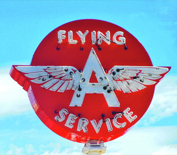 Photograph - Flying A Service Sign by Joan Reese