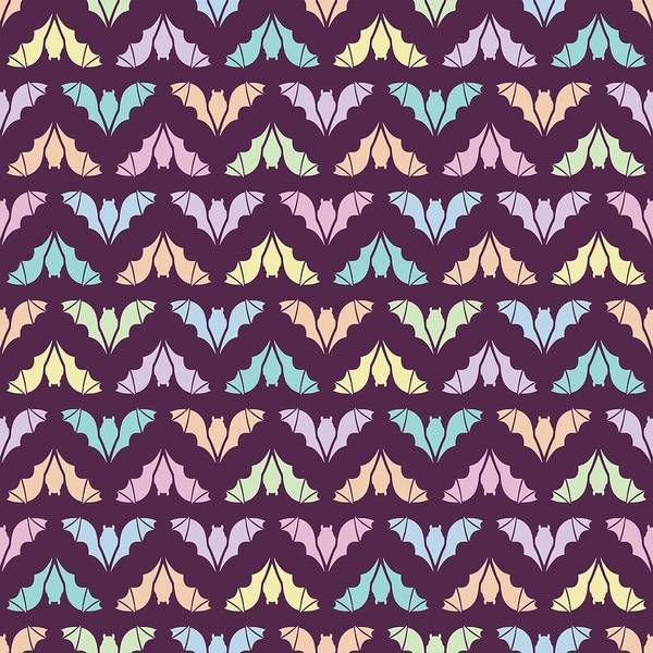 Digital Art - Flying Bats Pattern In Pale Colors by MM Anderson
