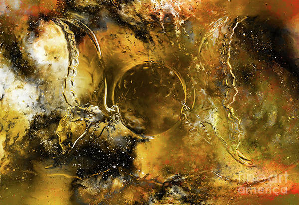 Wall Art - Painting - Flying Butterfly In Cosmic Space And Moon. Metal And Glass Effect. by Jozef Klopacka