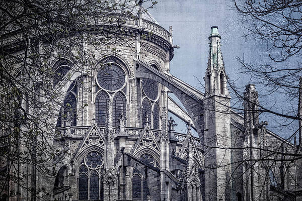 Edifice Photograph - Flying Buttresses Notre Dame Paris Textured by Joan Carroll