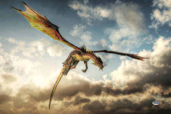 Digital Art - Flying Dragon, Death From Above by Daniel Eskridge