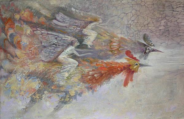 Painting - Flying Fairies. Monotype by Valentina Kondrashova